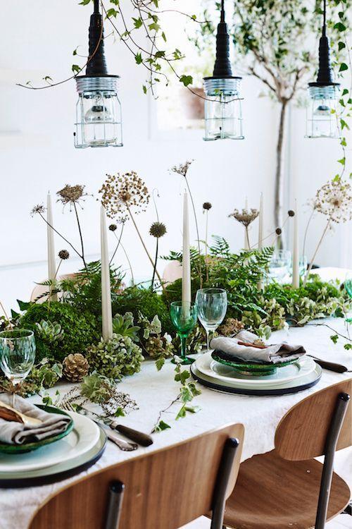 groene gedekte tafel