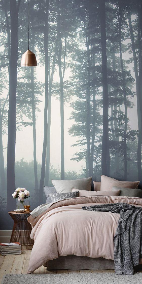 slaapkamer met bos behang