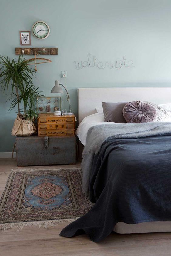 slaapkamer met vintage look