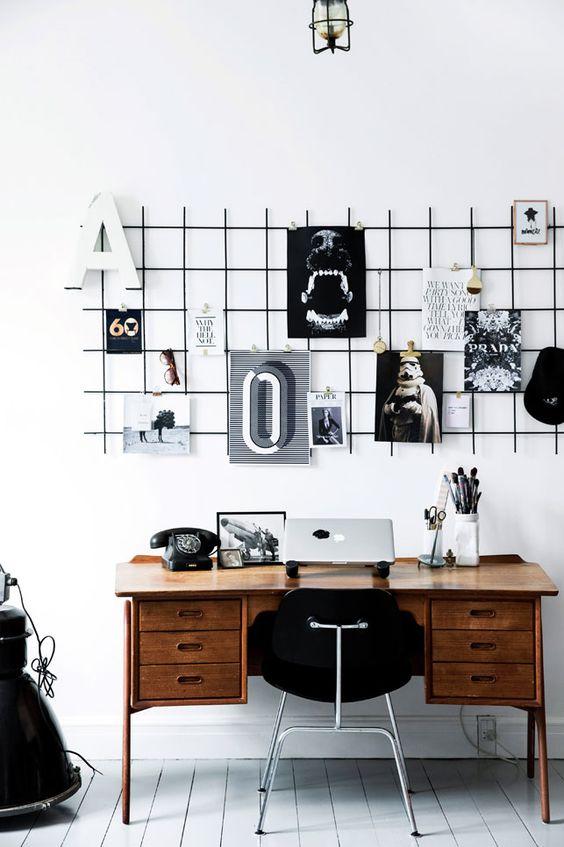 inspirerende werkplek zwart wit